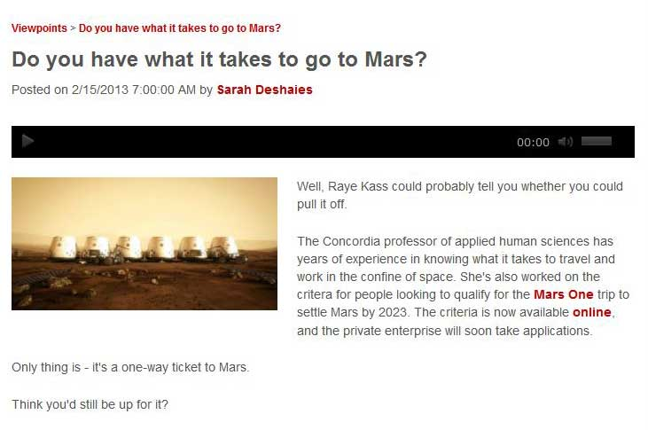 Do you have what it takes to go to Mars
